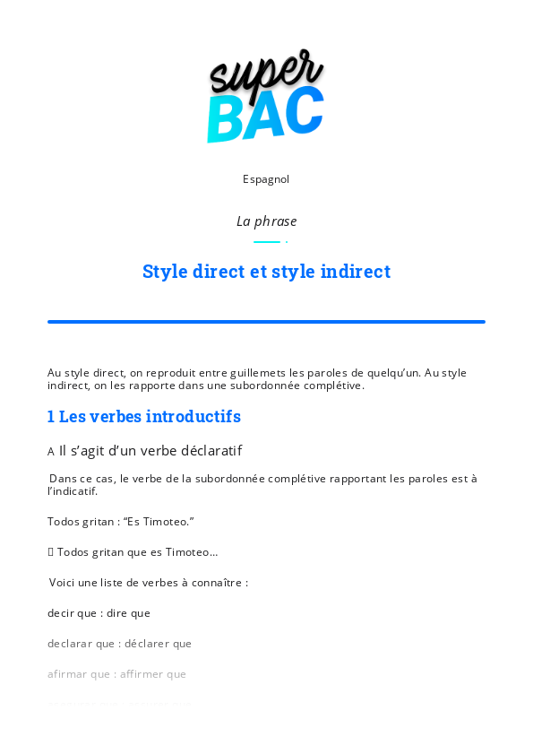 Cours Espagnol 1re Generale Style Direct Et Style Indirect Bac 2021